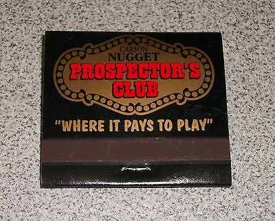 "MATCHBOOK from Carson Nugget Prospector's Club. ""Where it Pays to Play"" in Carson, Nevada In New Unstruck Condition! $5.99 obo (Free S&H)"