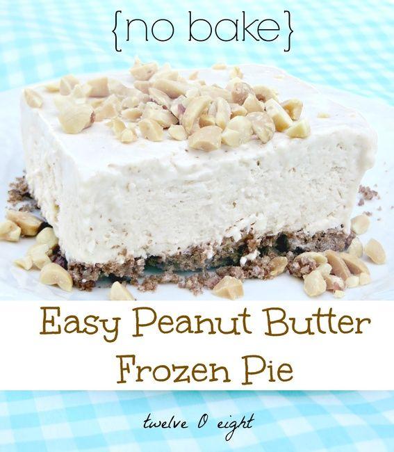 No Bake Frozen Peanut Butter Pie | Treats!! | Pinterest
