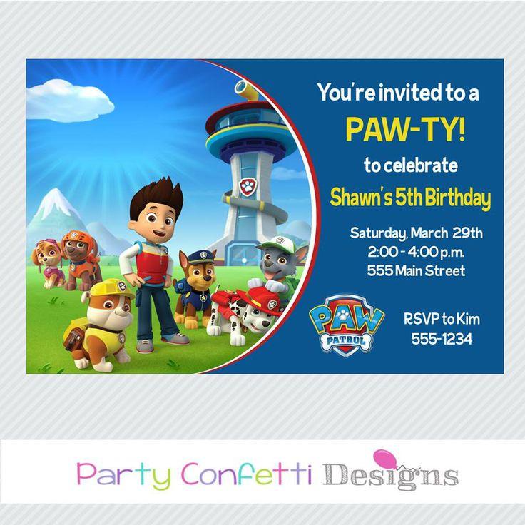 Paw Patrol Party Invitations Traffic Club