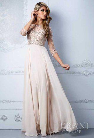 Terani Evening dress Style M2204 Chiffon Hi-low High Collar Long