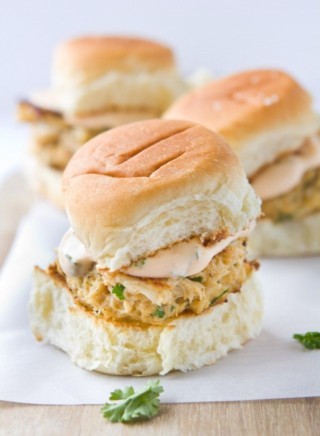 Crab Cake Sliders with Spicy Aioli.. | Soup, Sandwiches & Chilli | Pi ...