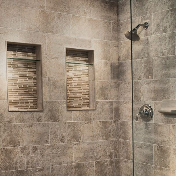 recessed shelving in shower yep more ideas for my home. Black Bedroom Furniture Sets. Home Design Ideas