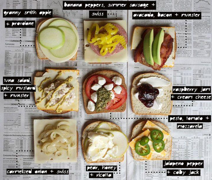 Grilled cheese sandwich cheat sheet. Cool sandwich ideas!