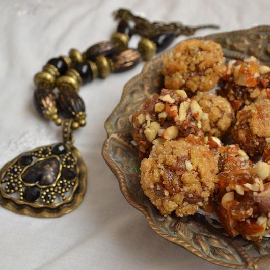 Almond praline chocolate truffles and apricot pistachio candy
