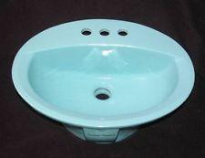 ... American Standard Regency Blue Oval Drop In Basin Bathroom Sink