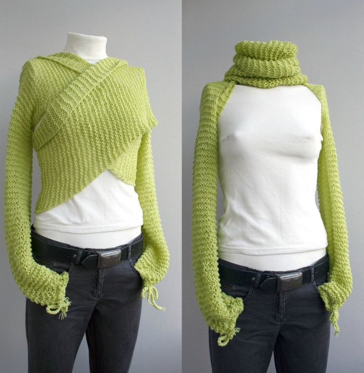 Knitting Pattern For Scarf With Sleeves : Long Sleeve New Season Pistachio Green Bolero Scarf Shawl Neckwarmer