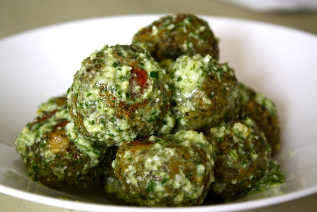 Lentil Meatballs with Lemon Pesto [Sparrows & Spatulas]