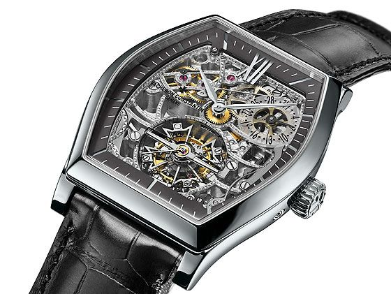 "Vacheron Constantin's Malte Tourbillon Openworked has a platinum case and a sapphire dial surrounded by a slate gray dial ring. The movement, Caliber 2795, features a hand-engraved ""pyramid"" motif on the bridges. #SIHH2014"