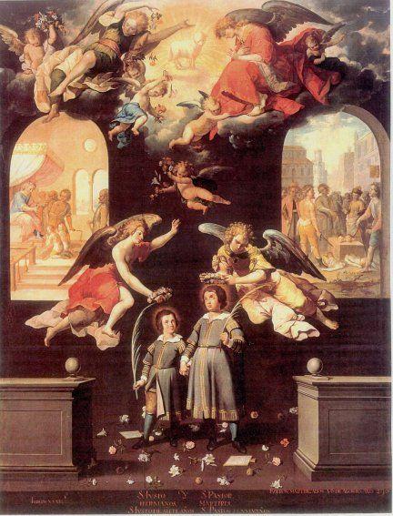"""Santos Justo y Pastor"""". José Juárez, c. 1653."""