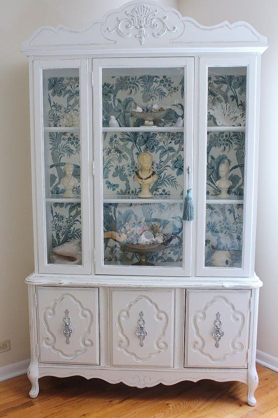 wallpaper display cabinet up cycled ideas pinterest