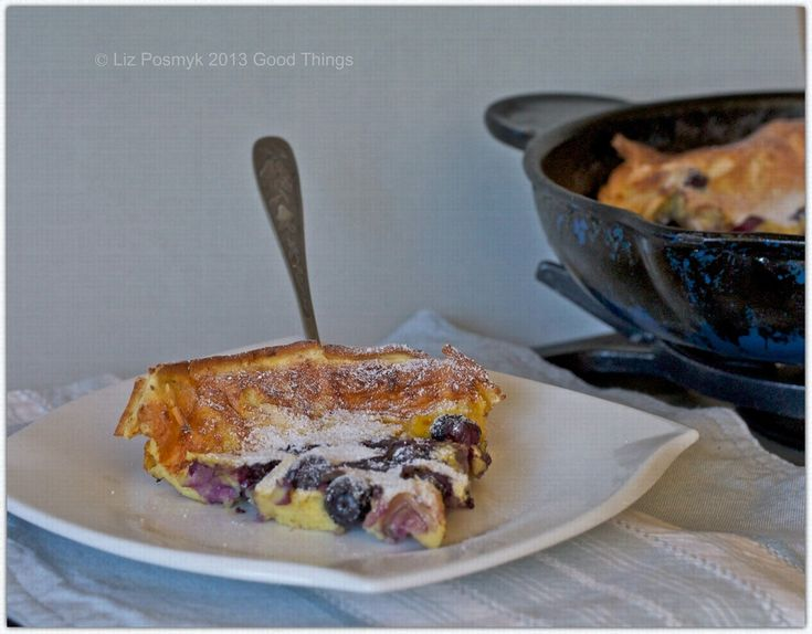Blueberry Dutch baby pancake with white chocolate