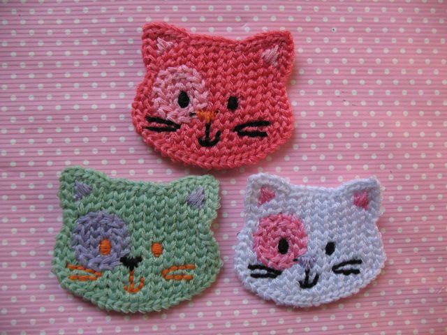 Crochet Cat Face Applique Pattern