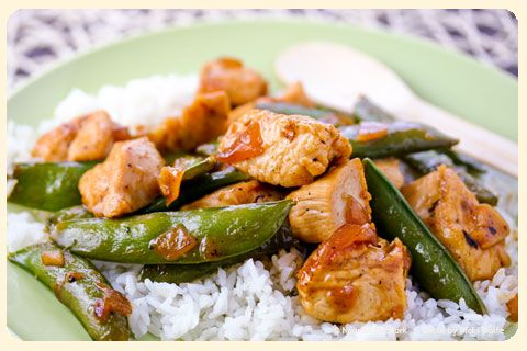 Chicken and Snap Pea Stir Fry with Sticky Sweet Sauce- has a kick to ...