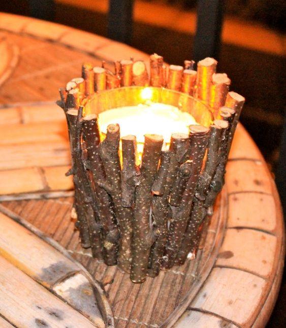 Diy twig candle holder centerpiece inspirations pinterest