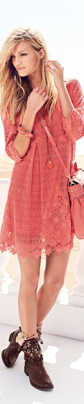 Pink dress with purse and long boots