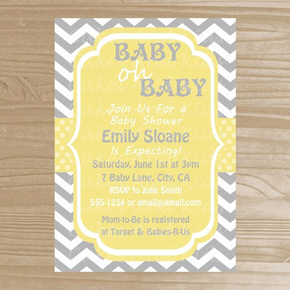 baby shower invitation grey and yellow baby shower invitation pri