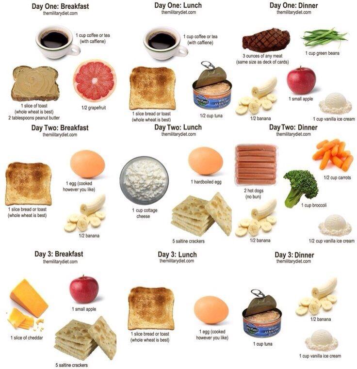 The Military Diet Menu Printable