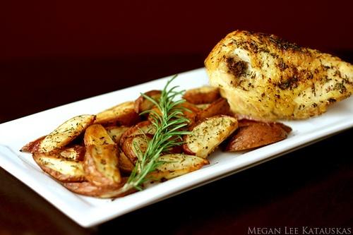 Crispy Rosemary Chicken and Potato Wedge Fries by meganleestudio, via ...