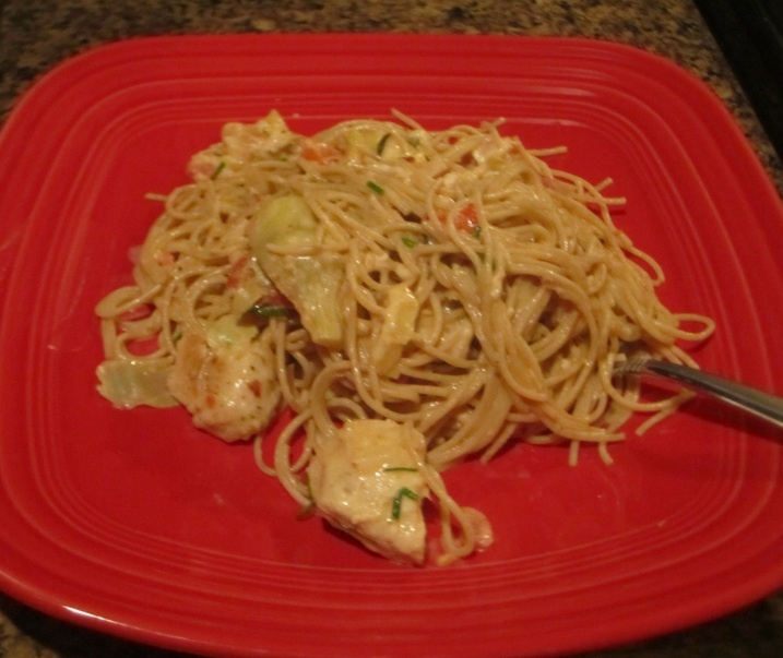 Spaghetti with chicken, artichoke hearts and tomatoes. Awesome.