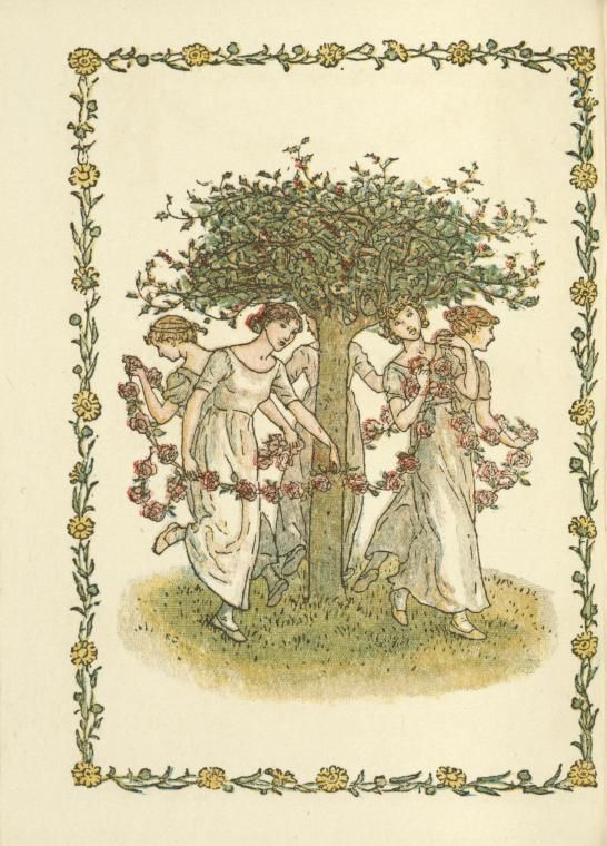 Young women with flower garlands - Kate Greenaway's Almanack for 1897