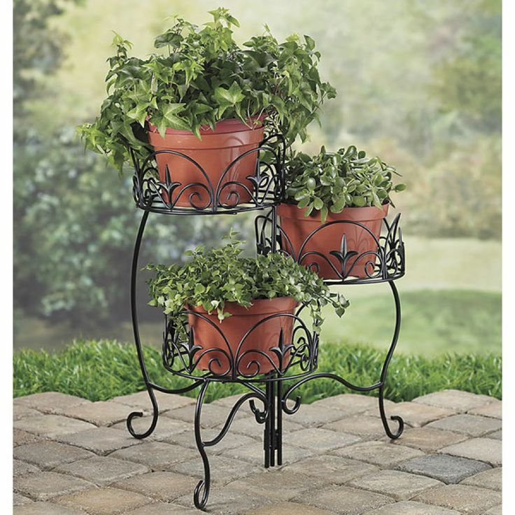 Three Tiered Plant Stand Planters Container