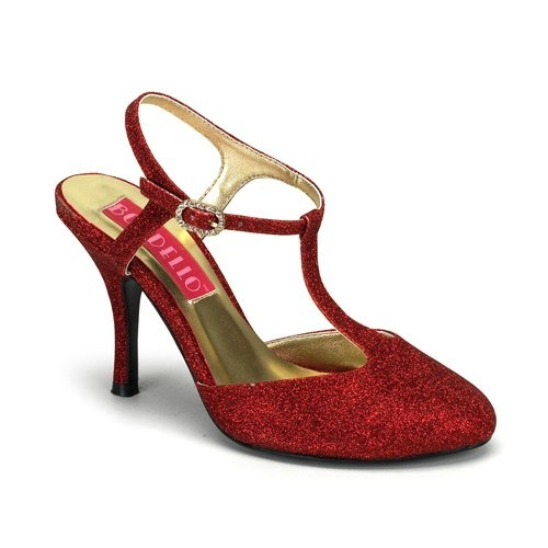 Inch Heel Red Glitter Sandal Pump Shoes Sexy High Heel T-Strap