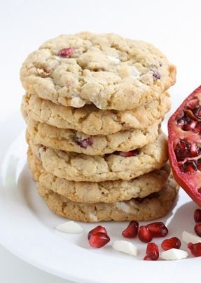 Tis the season for Pomegranate White Chocolate Chunk Cookies!
