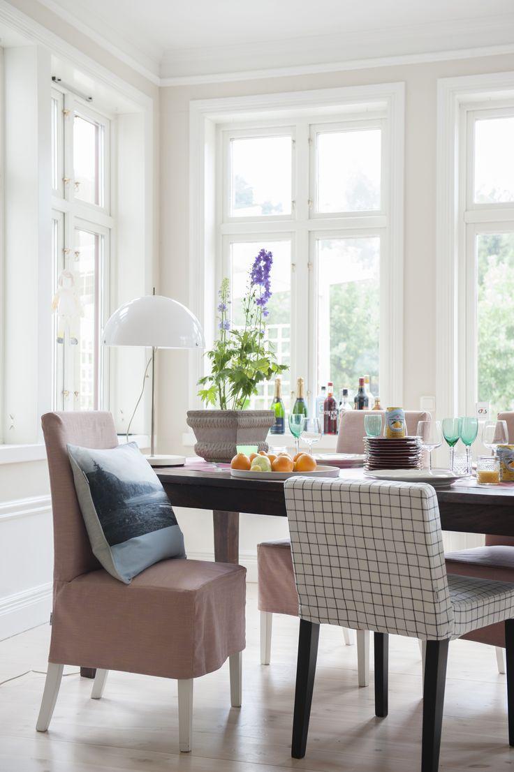 Henriksdal chair covers, medium skirt in Tegnér  | The Dining Room