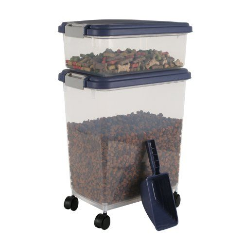 IRIS Airtight Pet Food Container Combo Kit, Blue Indigo/Gray IRIS USA ...