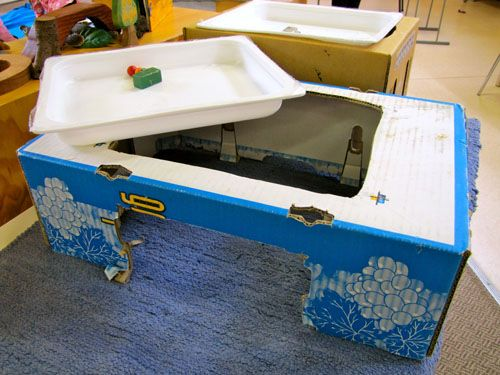Irresistible Ideas for play based learning-homemade magnet table uses a cardboard box and plastic lasagna tray or other plastic tray. Children access the bottom of the tray with large magnet. You can place magnets or other magnetic materials in the tray.
