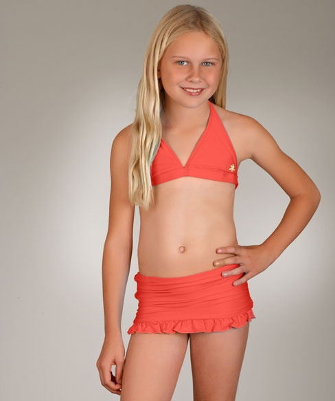 Splendid los angeles girls spotted solid halter and swimming skirt