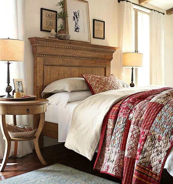 pottery barn bedroom use mantle piece to built headboard