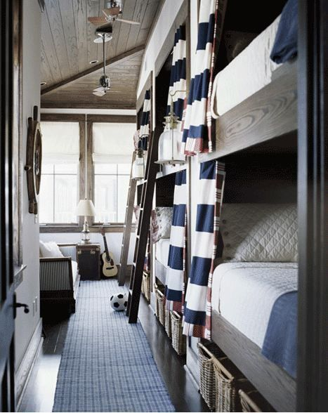 I love the curtains on the bunk beds. Maybe a nautical theme in our room?