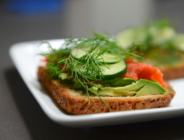 Open-faced salmon avocado sandwich and a report from the Norway 70.3