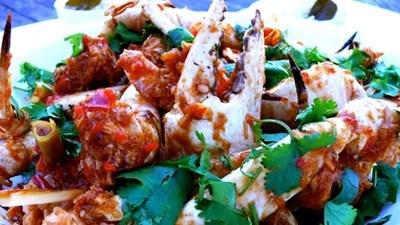 Chilli crystal crab on coconut & kaffir lime rice