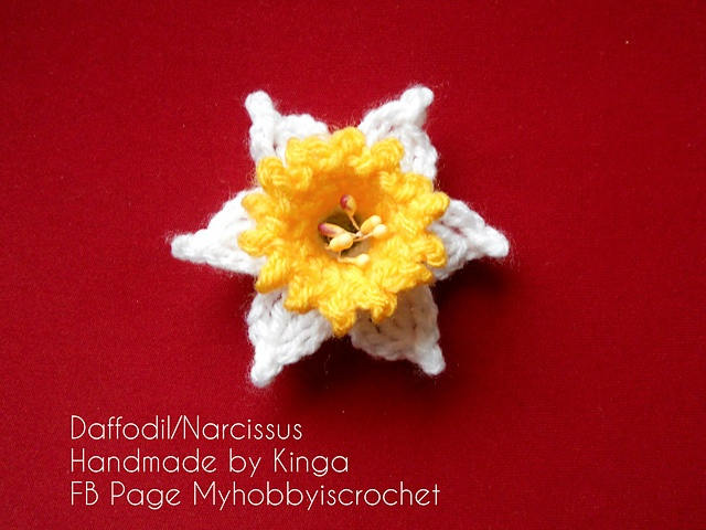 Free Crochet Daffodil Flower Pattern : Pin by Lindapaula - Textile Jewelry - Joyeria textil on ...