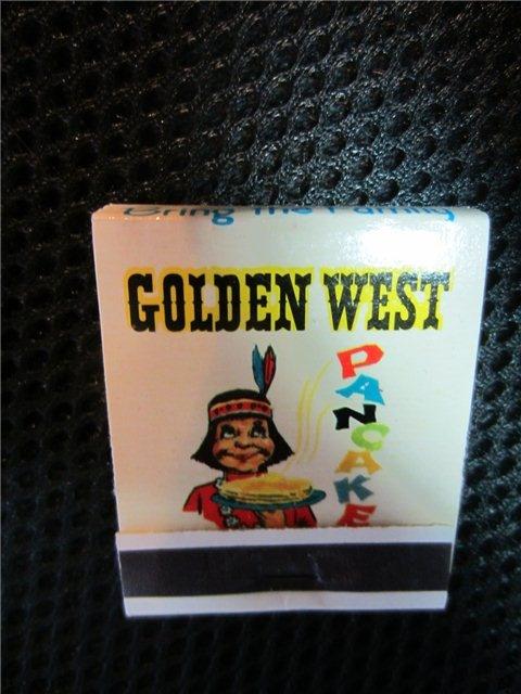 Golden West Pancakes Salinas Santa Cruz Oroville CA Matchbook cover INDIAN kookykitsch.com