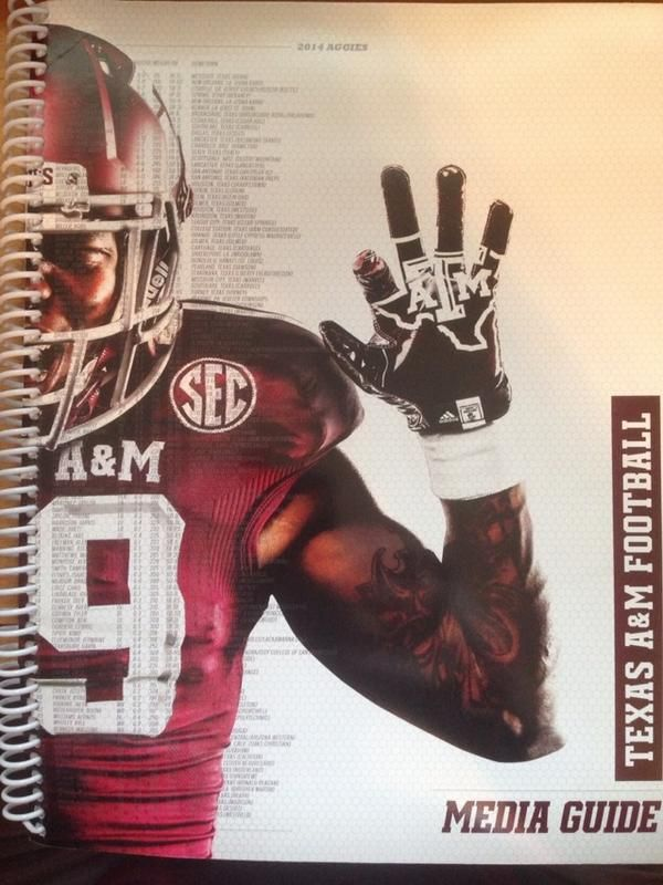 Is it me, or is that a (left-handed) #SicEm on the cover of Texas A&M's 2014 media guide? #BaylorEverywhere