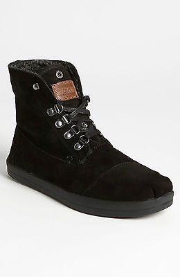 Toms men s black fleece suede shoes botas size 8 new authentic