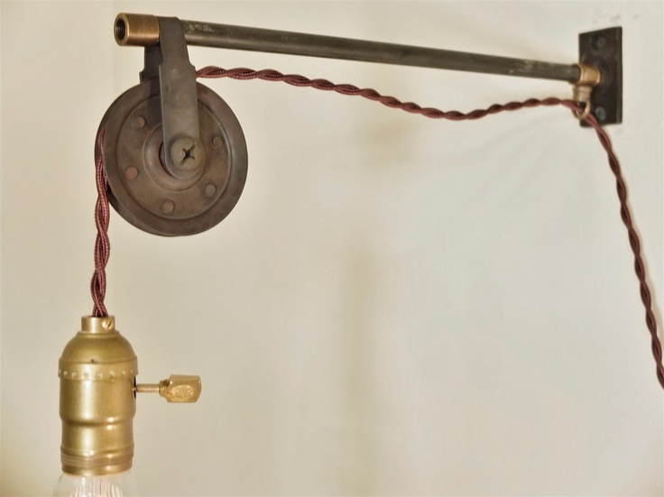 Vintage Industrial Pulley Sconce Wall Mount Pendant Light Machine