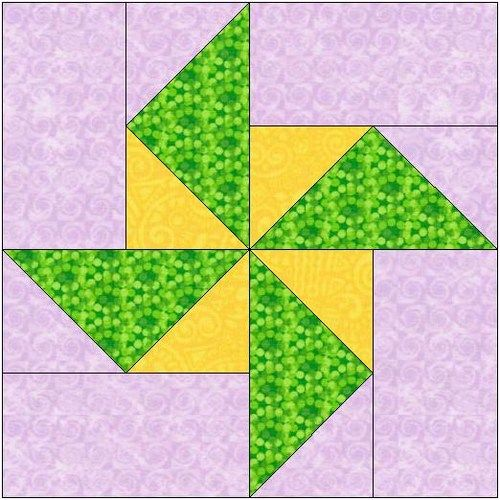 Pinwheel Quilt Block Template : All stitches - pinwheel piecing quilt block pattern .pdf -105a