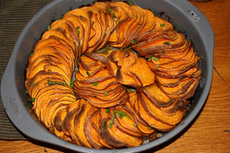 Crispy Roasted Sweet Potato Rounds (bakes about an hour at 400)
