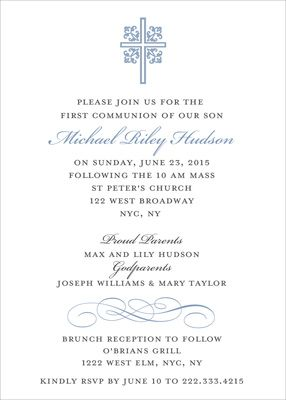 Blue Ornate Scroll Invitations