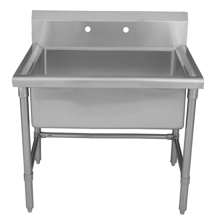 Stainless Steel Freestanding Utility Sink : Whitehaus stainless steel large freestanding commercial utility sink ...