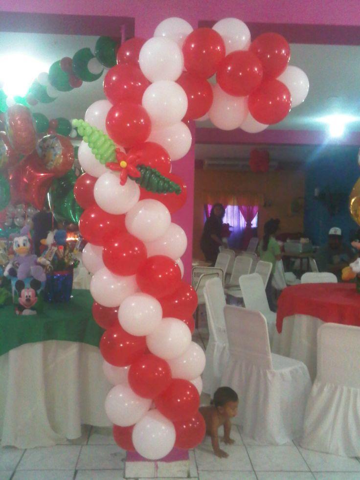 Bast n navide o en globos decoraciones con globos - Decoracion de navidad con globos ...