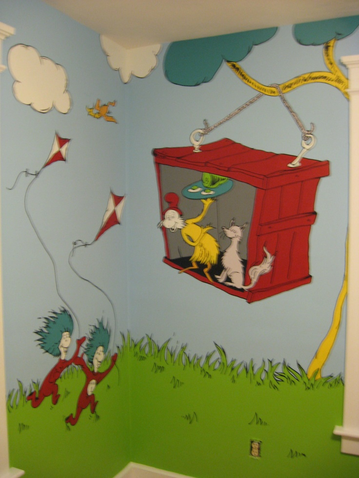 Dr seuss mural kid stuff pinterest for Dr seuss mural nursery