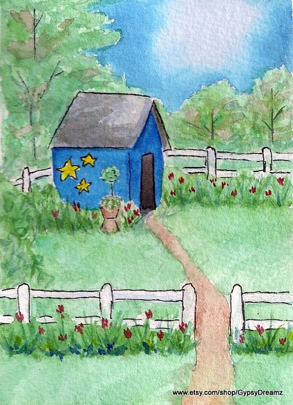 Whimsical Garden Shed ACEO Crafts Pinterest