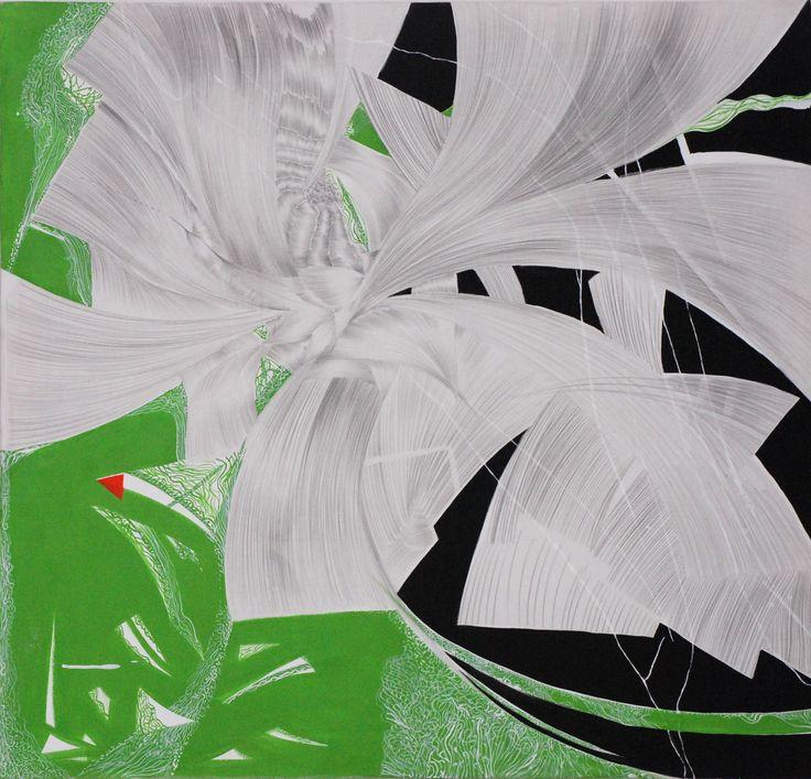 Danuta Nawrocka, Bez tytulu, 2012, plotno, 100x95, tech.mieszana.