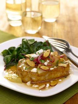 Honey Braised Pork Chops with Pears , Red Onion, Feta & Onion