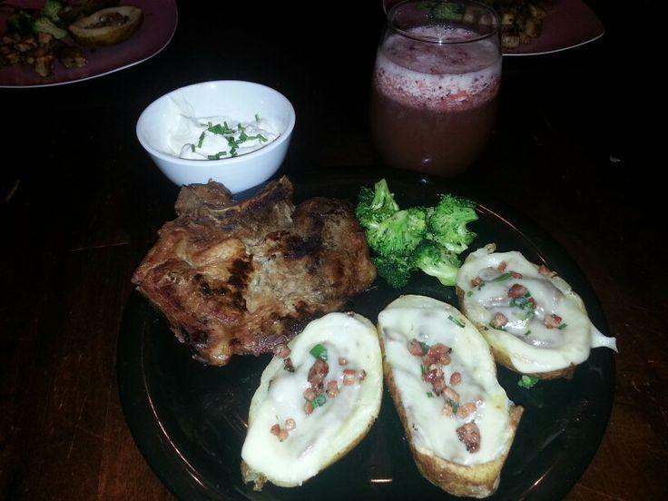 Honey Garlic pork chop & philly cheese steak potato skins &homemade ...
